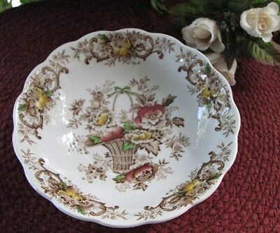 VTG RIDGWAY Staffordshire Brown Multi Old English Bouquet Coupe Cereal Bowl EX