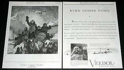 1930 Old Magazine Print Ad, Veedol Motor Oil, Byrd Is Home From North Pole, Art!