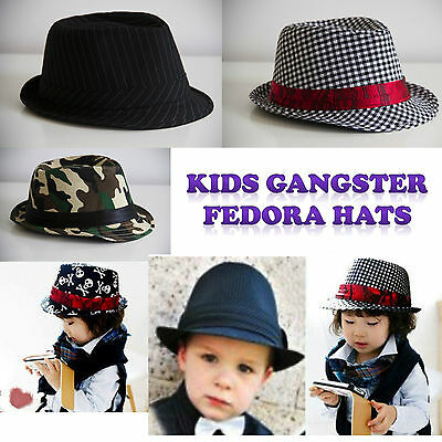 Kids Trilby Fedora Hats Gangster Costume Pinstripe AUSSIE SELLER FAST SHIPPING!!