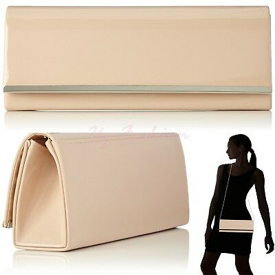 Nude Apricot Patent Glossy Leather Ladies Evening Clutch Shoulder Bag