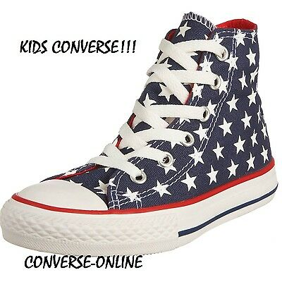 b65c700f1add6a Kids Boys Girls CONVERSE All Star STARS HIGH TOP Blue Trainers Boots SIZE  UK 13
