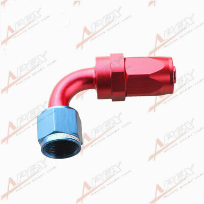 8AN AN8 90 Degree Swivel Oil Fuel Line Hose End Fitting Adapter Red/Blue