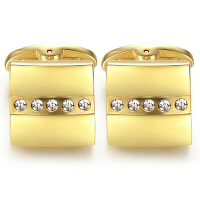 Luxury Mens Gold Plated Crystal Square Wedding Cufflinks