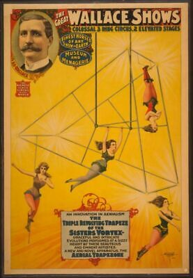 Vintage Circus Carnival Poster Wallace Aerial Trapeze Art Print Picture A3 A4