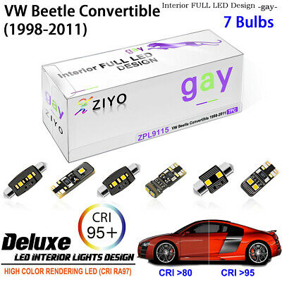 7 Lights Super Bright LED SMD Interior Light Kit For VW Beetle Convertible White