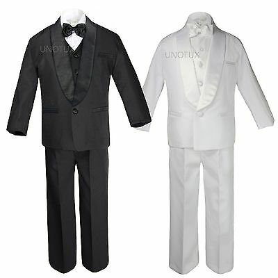 5pc Infant Toddler Boy Wedding Formal Shawl Lapel Tuxedo Black White Suit S - 20