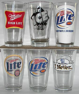 Miller beer, brewery, Milwaukee, Wisconsin pint glasses, 6 different