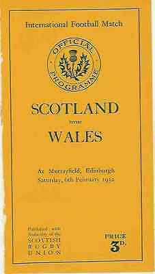 SCOTLAND v WALES 1932 RUGBY PROGRAMME 6 Feb at MURRAYFIELD