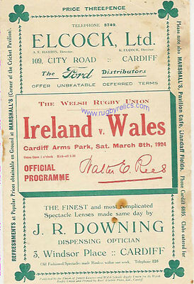 WALES v IRELAND 1924 RUGBY PROGRAMME 8 Mar at CARDIFF
