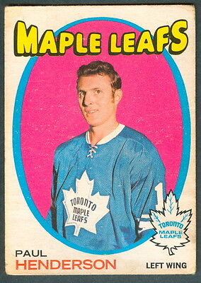 1971 72 Opc O Pee Chee Hockey 67 Paul Henderson Vg Toronto Maple Leafs Card