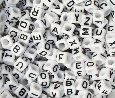 100 Letter A-Z  Acrylic Cube Alphabet Bead 6mm ONLY 99P FREE POSTAGE