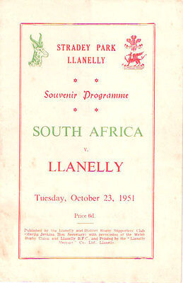 SOUTH AFRICA 1951 RUGBY TOUR PROGRAMME v LLANELLY 23 Oct