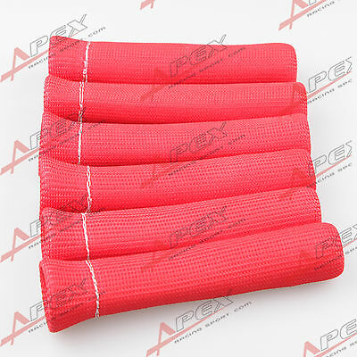 6Cyl Heat Protector Sleeve Sleeving Spark Plug Wire Boot Red