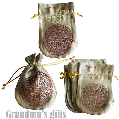 10pcs Yellow Brocade Pouch Purses Jewelry Coins Gift Bag