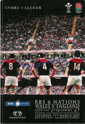 WALES v ENGLAND 2007 RUGBY PROGRAMME 17 Mar at CARDIFF