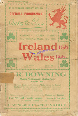 WALES v IRELAND 1928 RUGBY PROGRAMME 10 Mar at CARDIFF