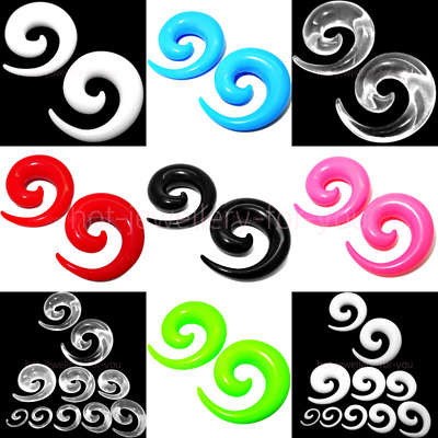 ACRYLIC FLESH TUNNEL SNAIL EAR PLUG SPIRAL STRETCHER Taper 7 colours - 14 sizes