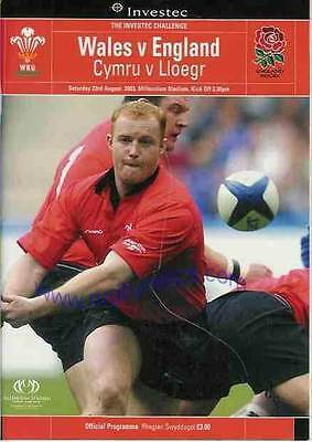 WALES v ENGLAND 2003 RUGBY PROGRAMME 23 Aug at CARDIFF