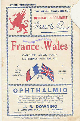 WALES v FRANCE 1921 RUGBY PROGRAMME 26 Feb at CARDIFF