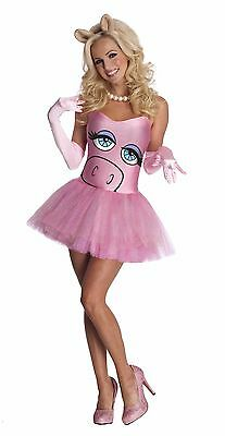 Womens OFFICIAL Miss Piggy Costume Sexy Muppets Pink Dress Ms Pig S M L