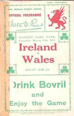 WALES v IRELAND 1932 RUGBY PROGRAMME 12 Mar at CARDIFF