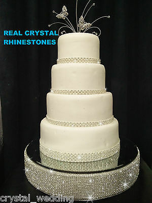 Diamante Rhinestone wedding cake stand mirrored with Real Crystal stones