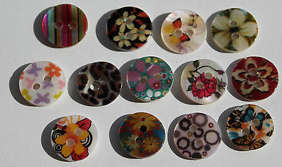Pack of seven, two hole 11mm shell MOP buttons. 13 different designs.