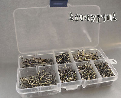 Antique Gold Bronze Plated Essential Jewellery Making Kit Storage Box Findings