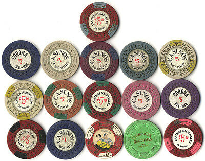16 Mixed ALL Diferent Used Panama Casino Clay Poker Chips Sample Collector Set *