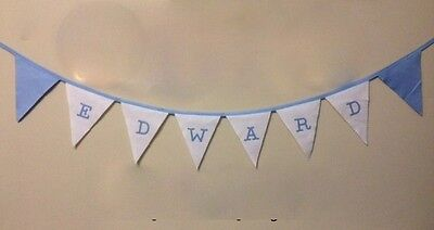 Baby Blue &White Personalised Fabric Bunting Party Christening Party £2 a letter