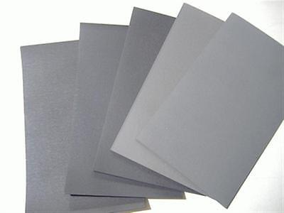 """6PC 1/2 SHEET 5 1/2"""" x 9"""" ASSORTED WET OR DRY SANDPAPER 600 GRIT TO 2000 GRIT"""