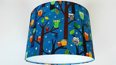LAMPSHADE MADE FROM ROBERT KAUFMAN  FABRIC( Forest fun spring owls).