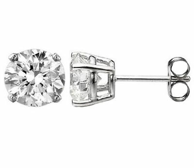3CT Round Simulated Diamond 14K White Gold Screwback Earrings