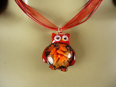 DICHROIC GLASS LAMPWORK RED  SHADES *OWL *  PENDANT NECKLACE RED RIBBON  CORD