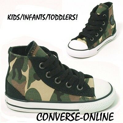 KIDS Toddlers Boys Girl CONVERSE All Star CAMO HIGH TOP Trainers Boots SIZE UK 9