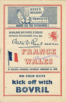 WALES v FRANCE 1948 RUGBY PROGRAMME 21 Feb at SWANSEA