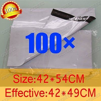100 420 x 540mm Poly Courier Plastic Bag Mailer Mailing Satchel self seal