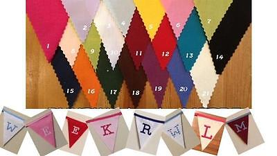 Personalised Fabric Bunting Choose Colour Flag/Letters/Tape Decoration, Party,