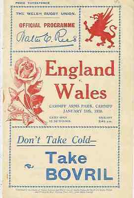 WALES v ENGLAND 1930 RUGBY PROGRAMME 18 Jan at CARDIFF