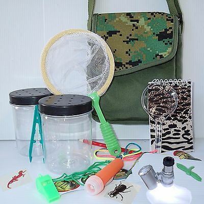 Adventure Kit Insect Viewer EXPLORER BAG + BUG KIT Net catcher torch Microscope
