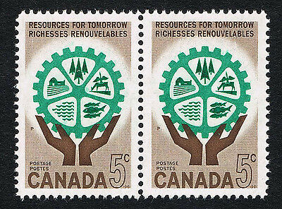 Canada Sc# 395 = 1961 5¢ RESOURCES FOR TOMORROW = MINT VF NH PAIRS