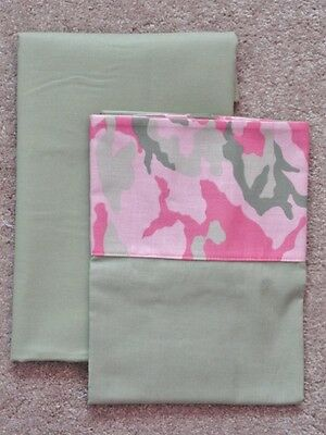 Crib/toddler Sheet 2Pc Set/cotton /handmade - Pink And Green Camo Print