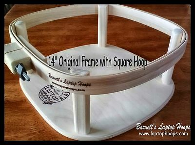 """Barnetts Laptop Hoops 14"""" Square Lap frame stand for hand quilting & rug hooking"""