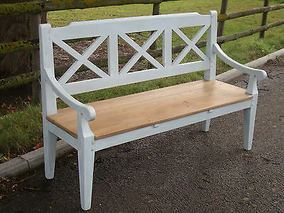 Bespoke  Reclaimed Pine & Painted Chelsea Bench with a 3 Plank Seat Shabby Chic