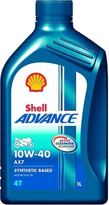 Shell Advance AX7 10W-40 4T Motorcycle Engine Oil Semi Synthetic 12 x 1 Litres