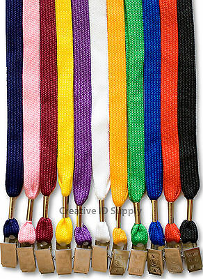 Lanyard - 100 Pcs Flat Neck Strap Lanyard Bulldog Clip For Id Badges 11 Colors
