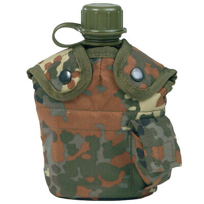 Water Bottle Canteen + Belt Holder + Cup Army Military German Flecktarn Camo