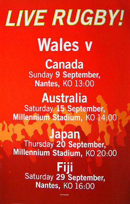 Wales At Rugby World Cup 2007 Fixtures Poster