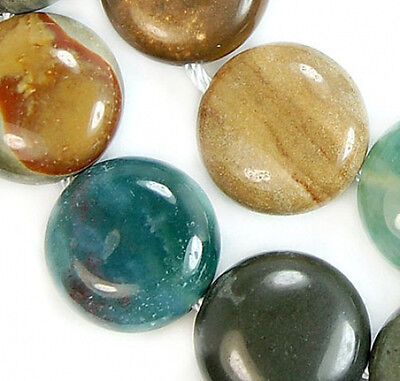 """14mm Natural Colorful  Imperial Jasper Coin Beads 15.5"""""""