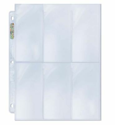 (100) Ultra Pro 6-Pocket Tall / Wide Card Album Pages Sheets Widevision Gameday